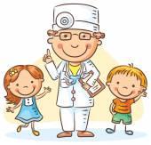 Kreslený doktor s šťastné děti, chlapce a dívku