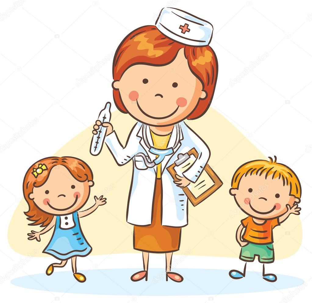 Cartoon doctor with happy little children, boy and girl ...