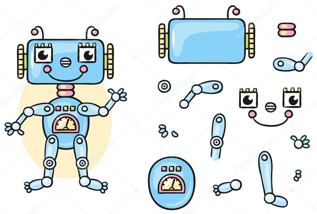 Partes Del Cuerpo Del Robot Para Que Los Niños Juntos
