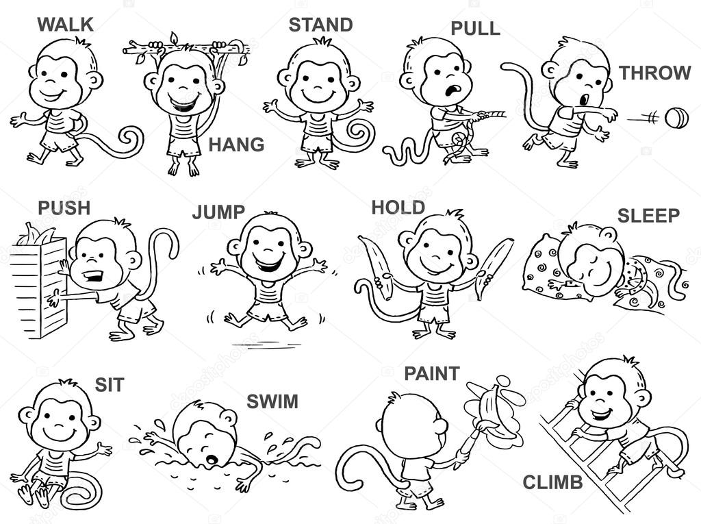 Verbos de acción cuadros, Mono lindo carácter, contorno de blanco y ...