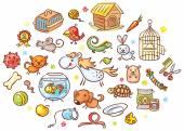 Sada barevných kreslených zvířat v zájmovém chovu s doplňky, hračky a jídlo