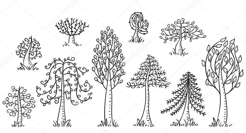 Rucne Kreslenou Stromy Sada Cerny A Bily Obrys Stock Vektor