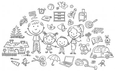 Family life set, black and white outline