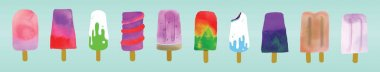 Set of ice cream. cartoon icon design template with various models. modern vector illustration isolated on blue background icon