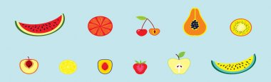 Set of fruit cartoon icon design template with various models. modern vector illustration isolated on blue background icon