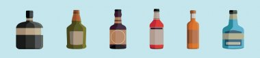 Set of bourbon bottle cartoon icon design template with various models. modern vector illustration isolated on blue background icon