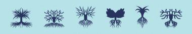 Set of tree logo cartoon icon design template with various models. modern vector illustration isolated on blue background icon