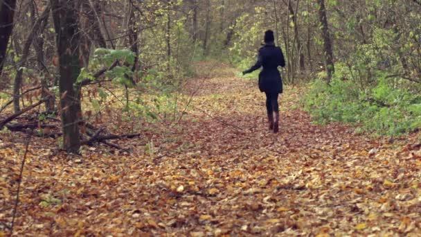 Krásná žena se hraje s anglický bulteriér štěně v podzimním parku