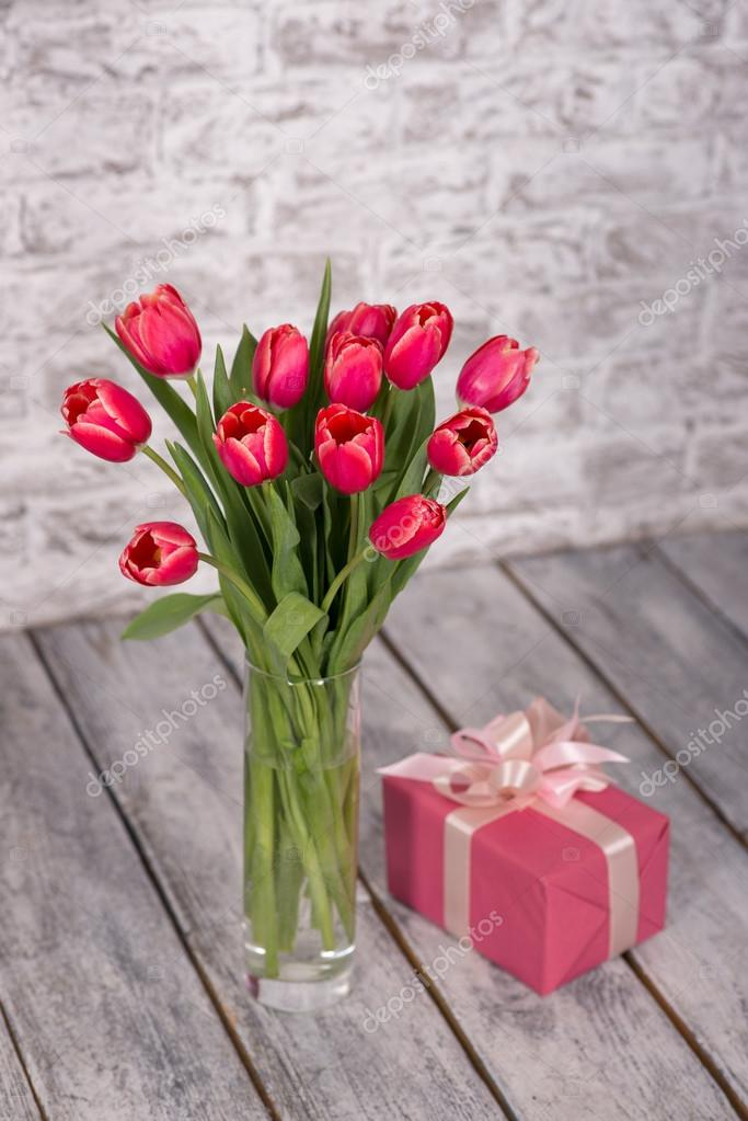 flowers, gift, tulips, background