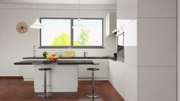 animation in a modern kitchen