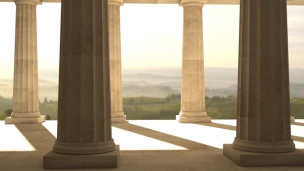 AA- in ancient greek temple with alpha channel