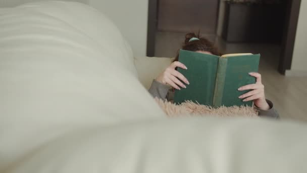 woman lying on the sofa at home and reading a book, lazy day