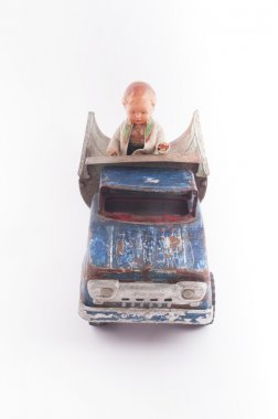 Vintage truck, doll and bear, toys