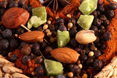 Decorated spices and  nuts
