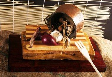 Cauldron with ingredients