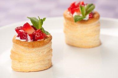 Strawberry Tart with Fresh Cream in Puff Pastry