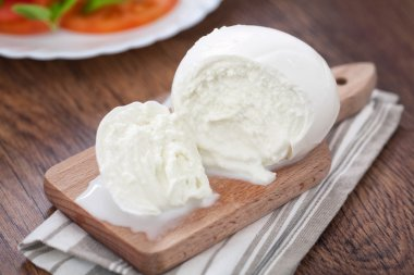 Buffalo mozzarella on table