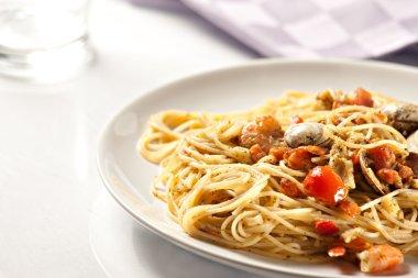 Seafood spaghetti on plate
