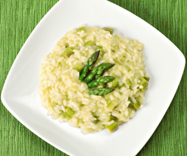 Risotto with Asparagus on plate