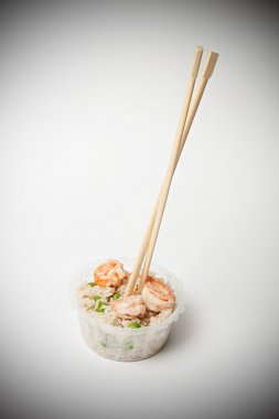 Chinese rice with shrimp and mushrooms
