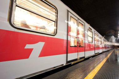Subway Train at Underground Station