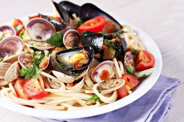 Seafood spaghetti on the plate