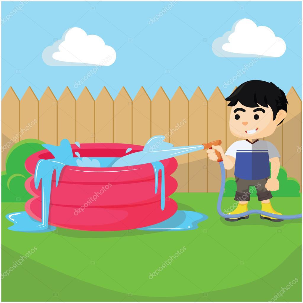 Gar on remplir la piscine image vectorielle - Clipart piscine ...