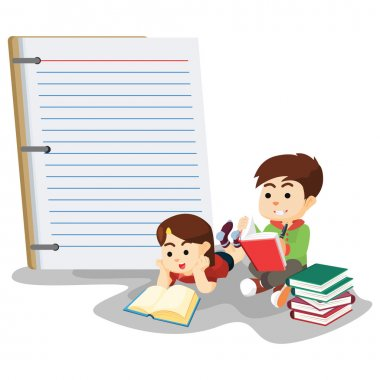 boy and girl study with a giant notebook
