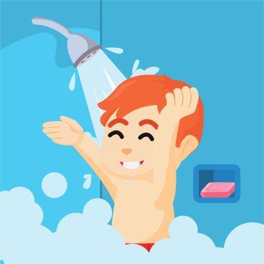 boy take a bath with shower