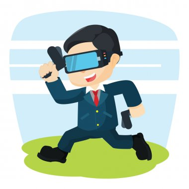 businessman running with virtual reality