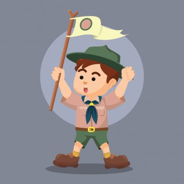 boy scout holding pole yelling