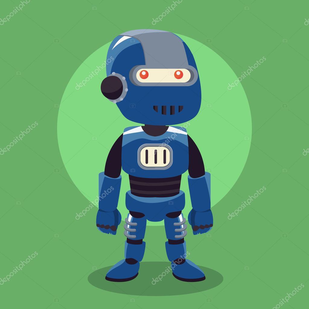 青いロボット イラスト デザイン ストックベクター