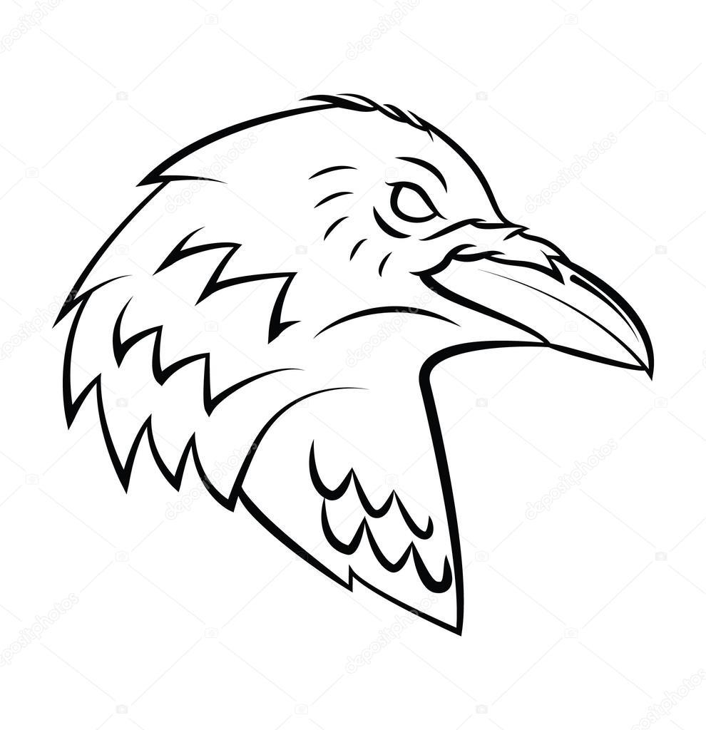 Line Drawing Raven : Raven head tattoo — stock vector funwayillustration