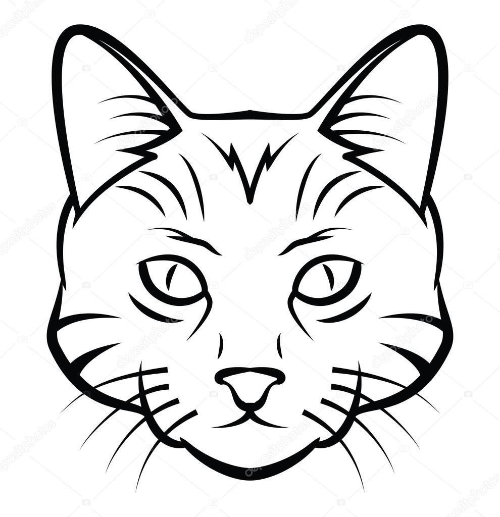 Голова кошки татуирует векторную иллюстрацию — Векторное ...