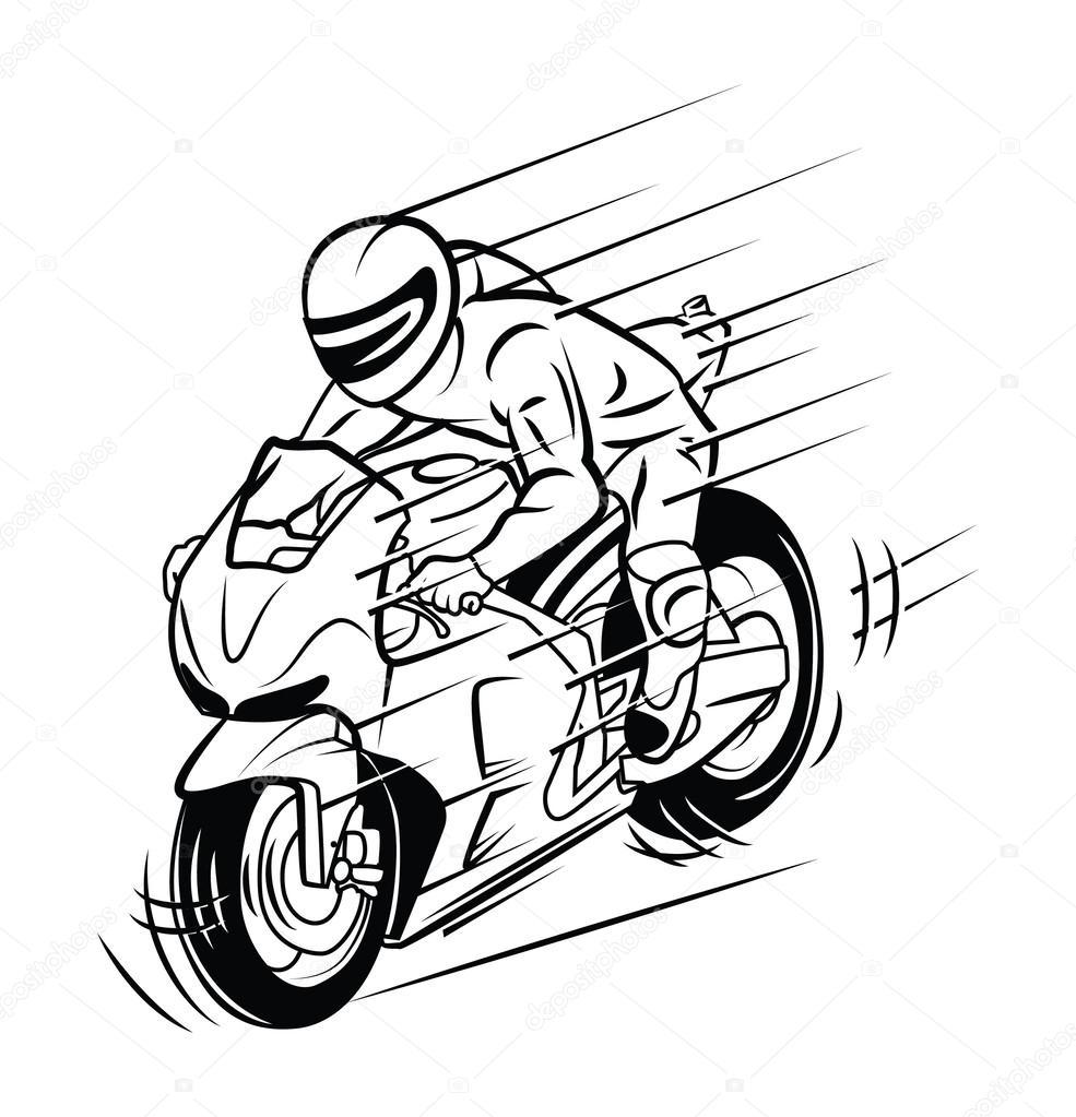 Imágenes Siluetas De Motos Para Colorear Carrera De Moto Vector