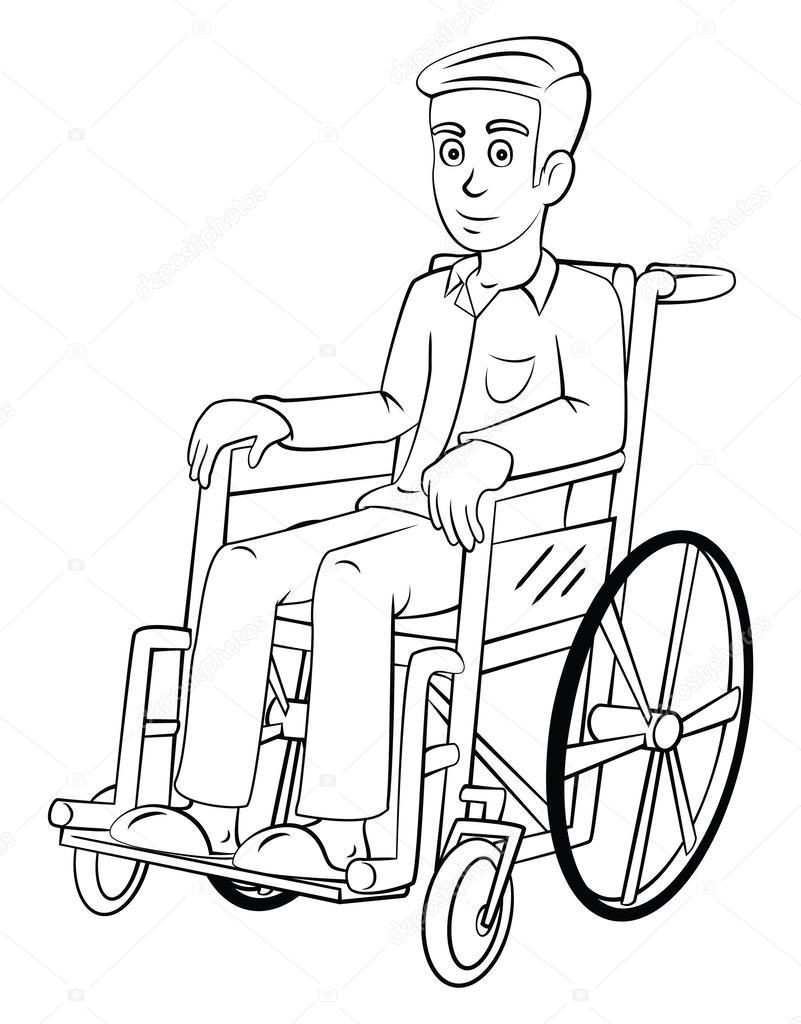 Adam Tekerlekli Sandalye Ile Stok Vektör Funwayillustration
