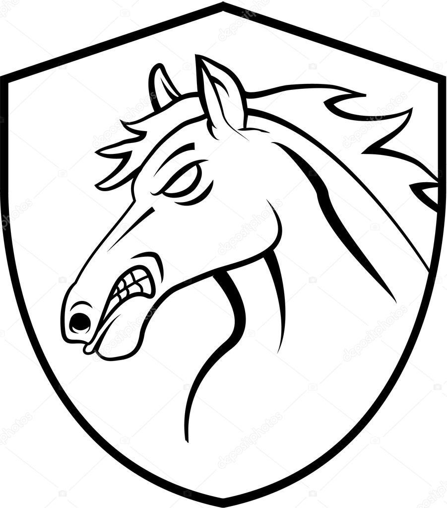 Horse Head Tattoo Mascot Stock Vector C Funwayillustration 59131821