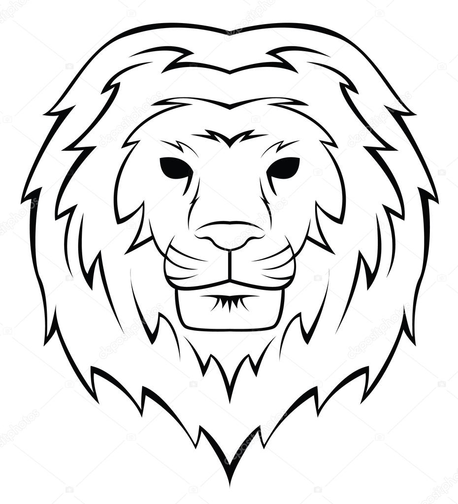 Lion Head Tattoo Illustration Stock Vector C Funwayillustration
