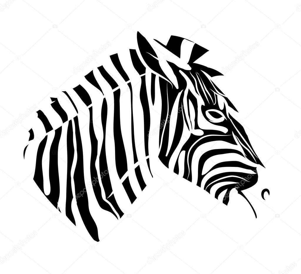 Tatouage de tête de zèbre \u2014 Image vectorielle