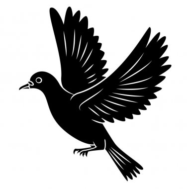Black Silhouette Of Dove Flying