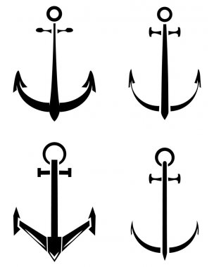 Black Silhouette Collection Of Anchor