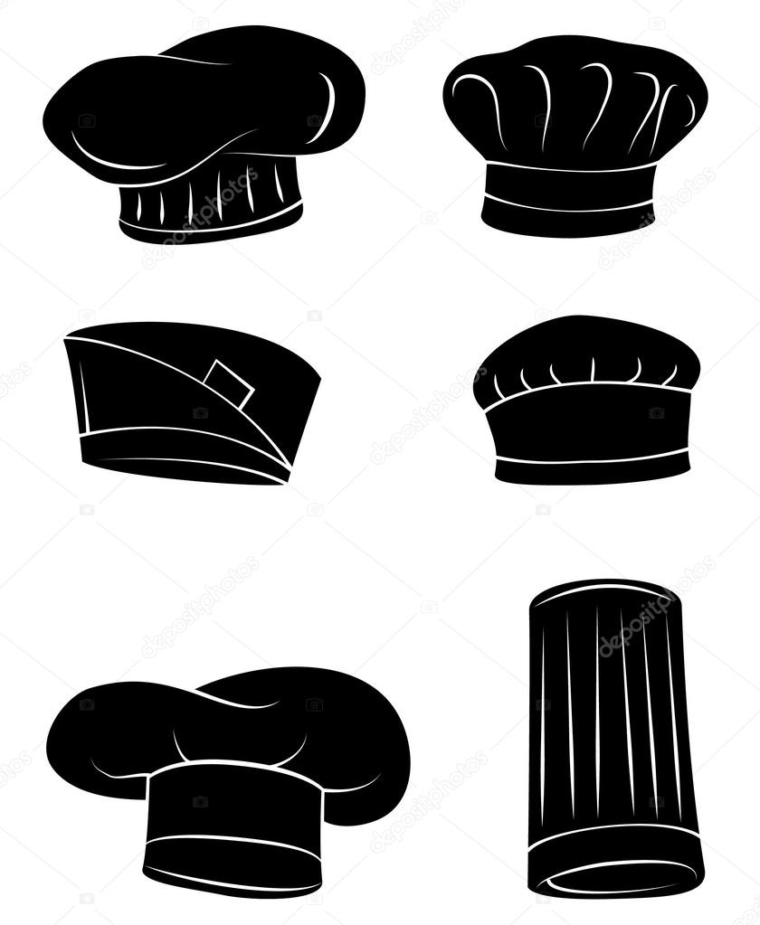 0f55d95e Black Silhouette Collection Of Chef Hat– stock illustration