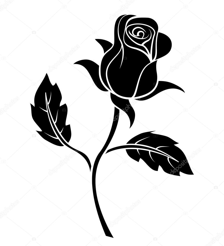 Black Silhoutte of Rose Vector Illustration — Stock Vector ...