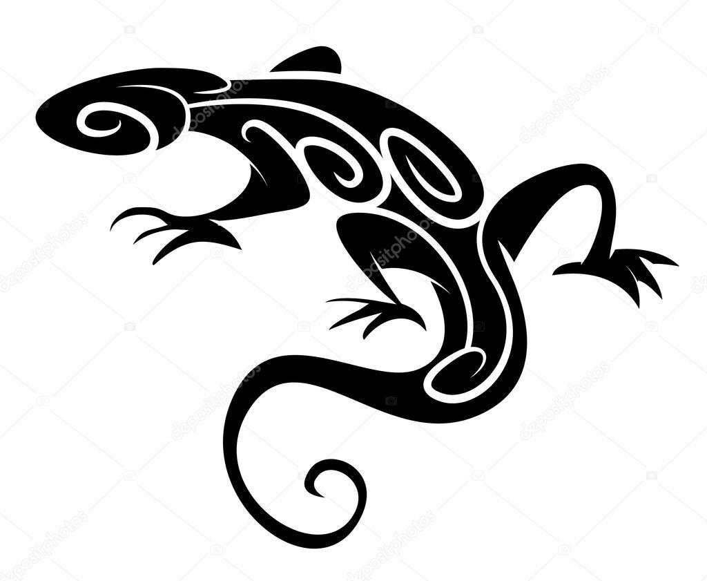 Vector Tatuajes Tribales Animales Silueta Negra Lagarto Tatuajes