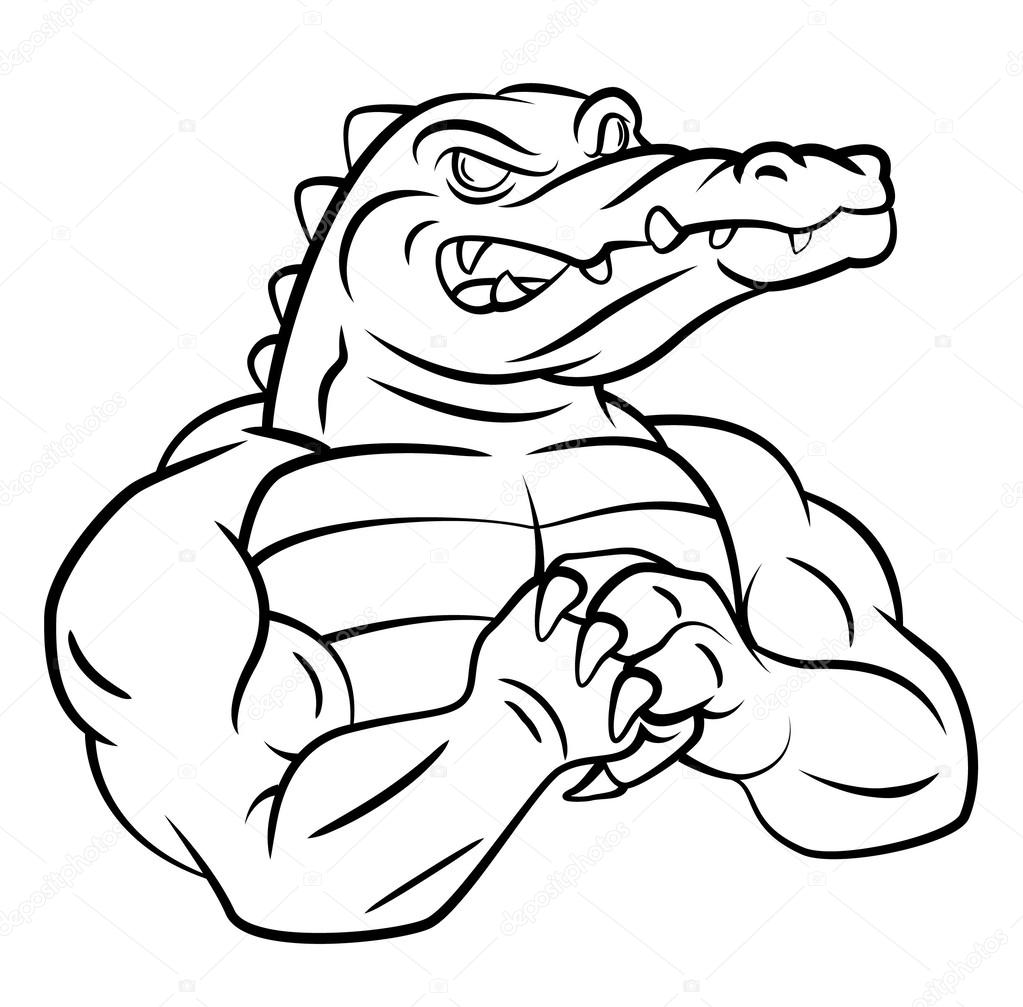 how to draw a crocodile being fierce