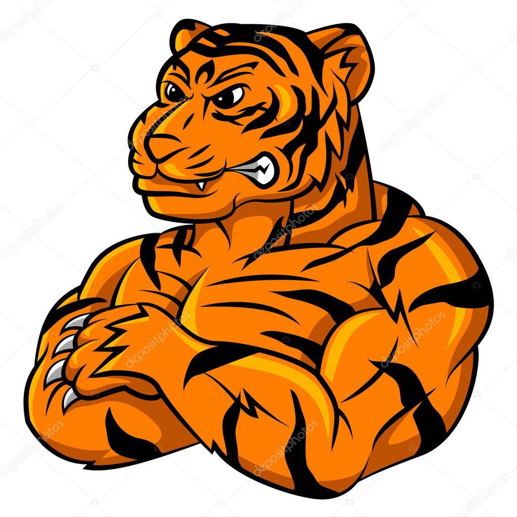 tiger strong mascot stock vector funwayillustration 64128895