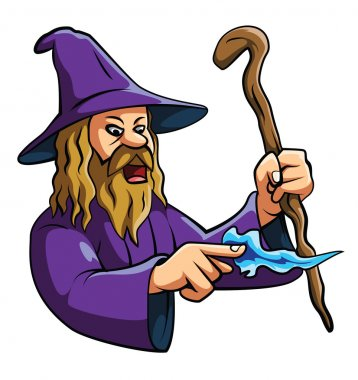 Old wizard casts a spell