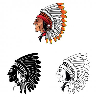 Apaches Mascot set collection tattoo.Vector illustration on white background stock vector