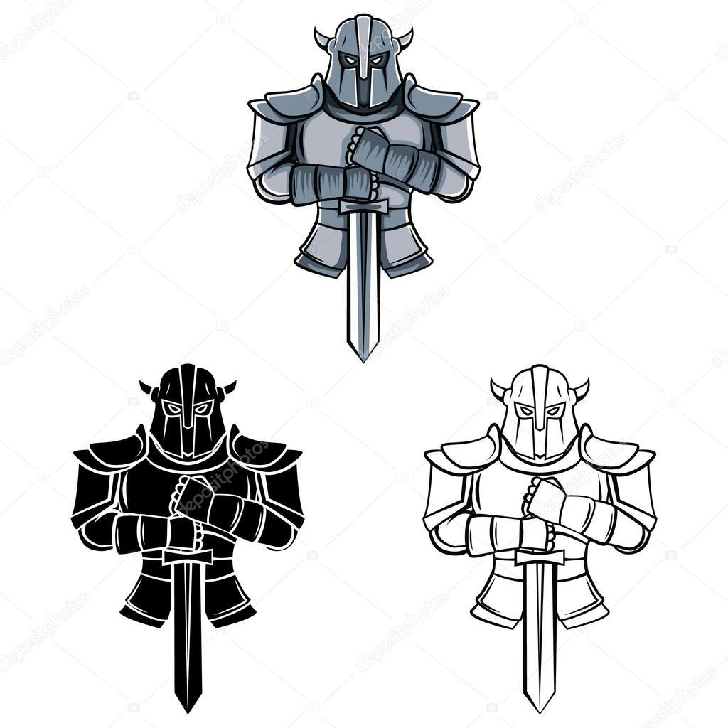Symbol Tatuaż Rycerzy Wojowników Grafika Wektorowa
