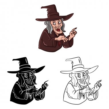 Coloring book Witch cartoon character